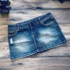 AEO Distressed Denim Mini skirt pink accents sz 8